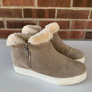 Steve Madden grey suede faux fur lined ankle boots